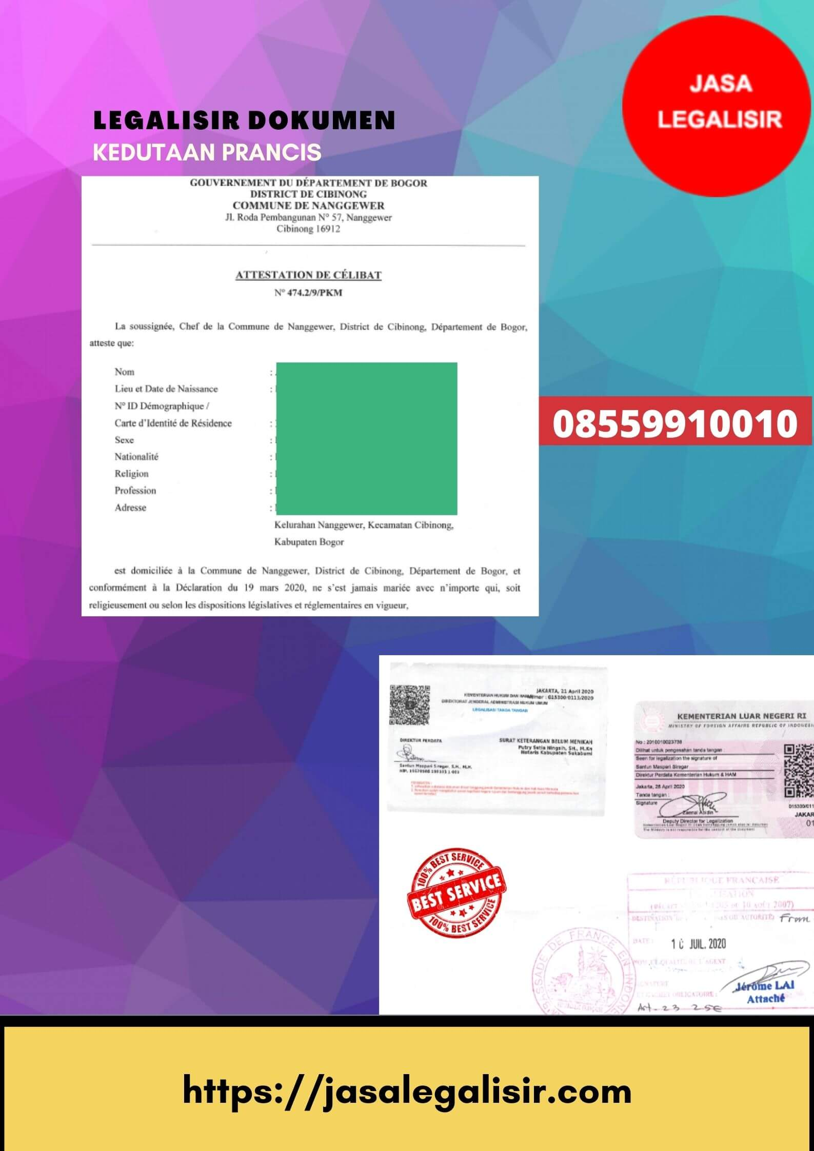Jasa Legalisir Dokumen di Kedutaan Prancis || 08559910010 || France Embassy