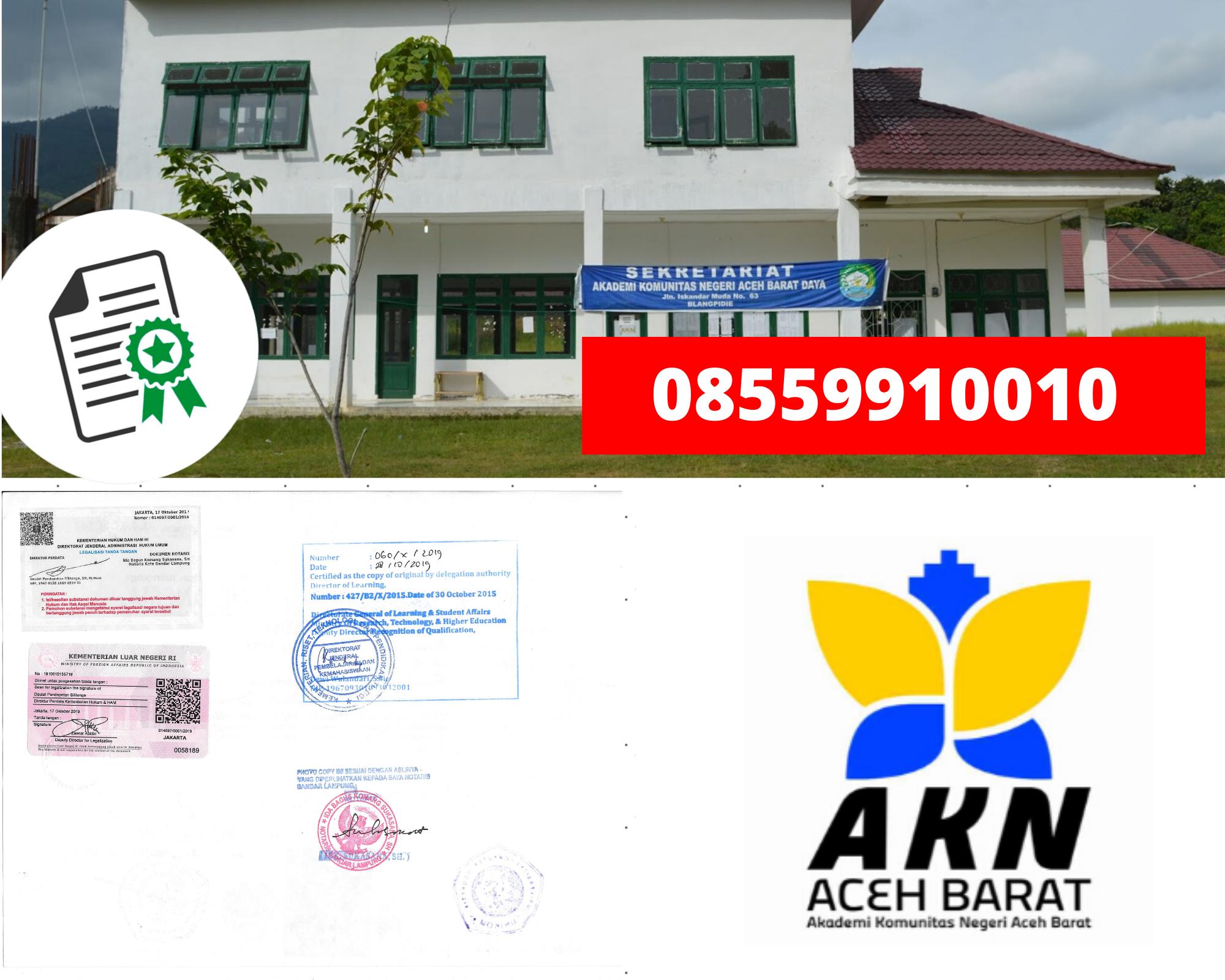 Legalisir Ijazah Akademi Komunitas Negeri  Aceh Barat Di Kemenristek Dikti || 08559910010