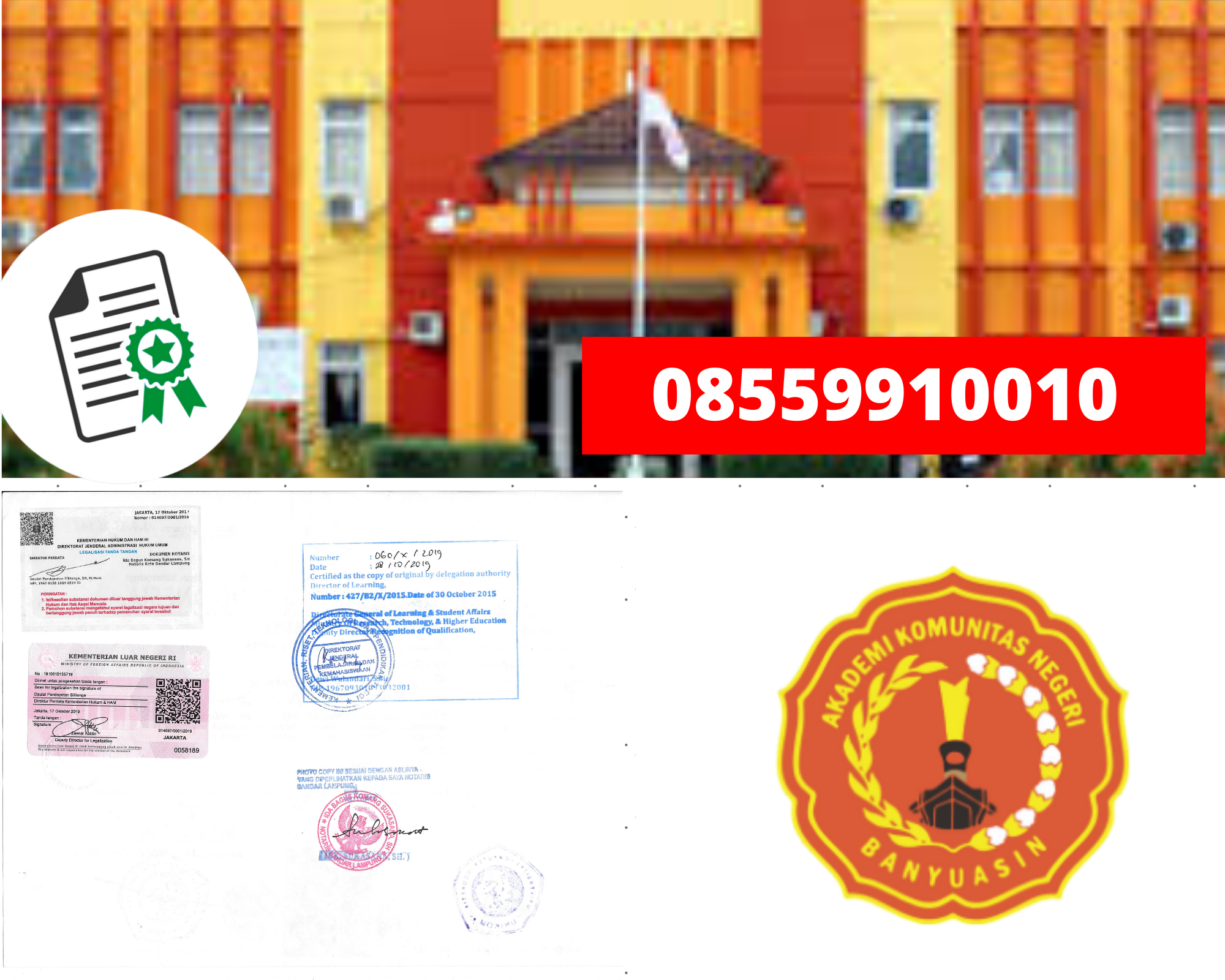 Legalisir Ijazah Akademi Komunitas Negeri Banyuasin Di Kemenristek Dikti || 08559910010