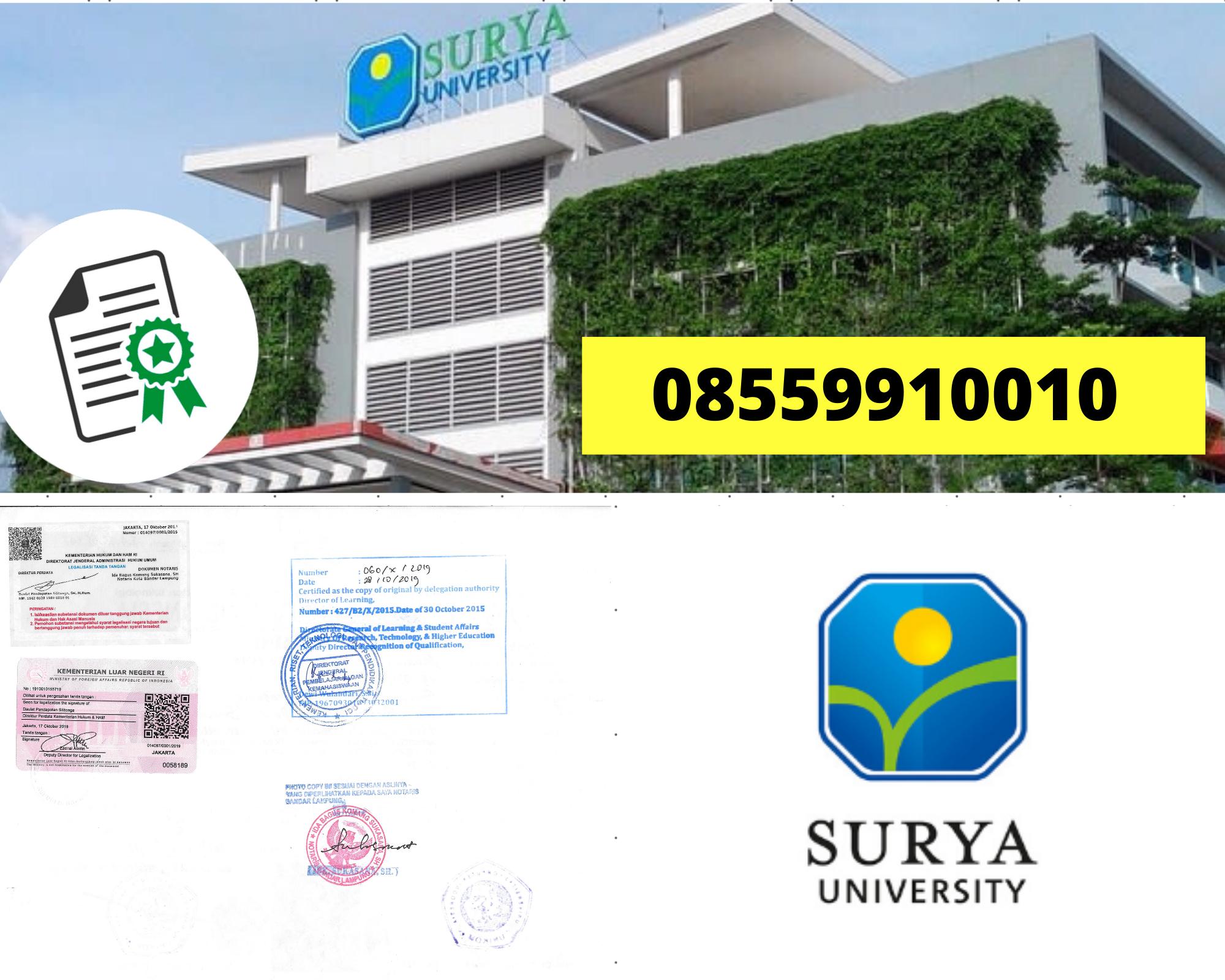 Legalisir Ijazah Universitas Surya Di Kemenristek Dikti    08559910010