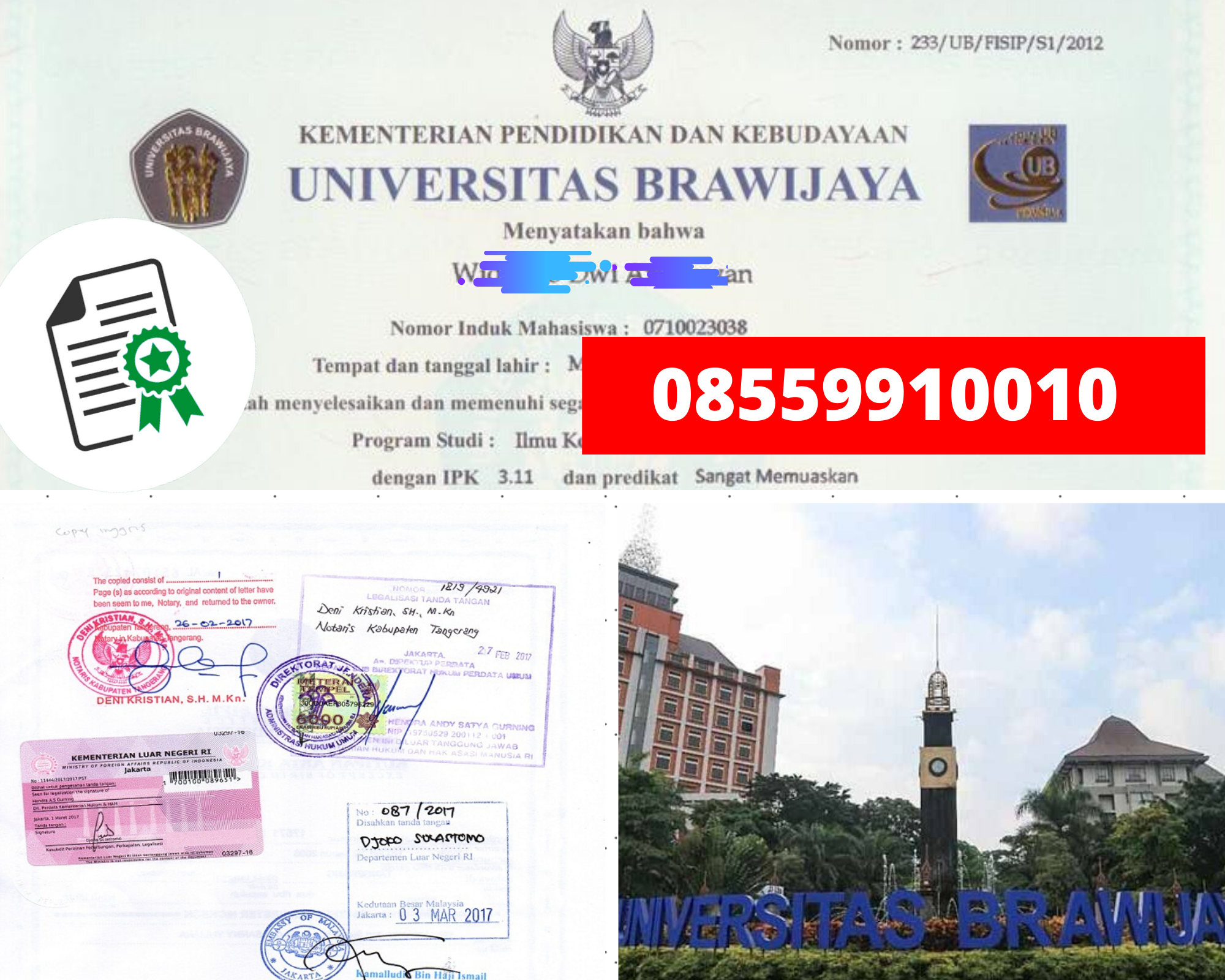 Legalisir Ijazah Universitas Brawijaya Di Kemenristek Dikti || 08559910010