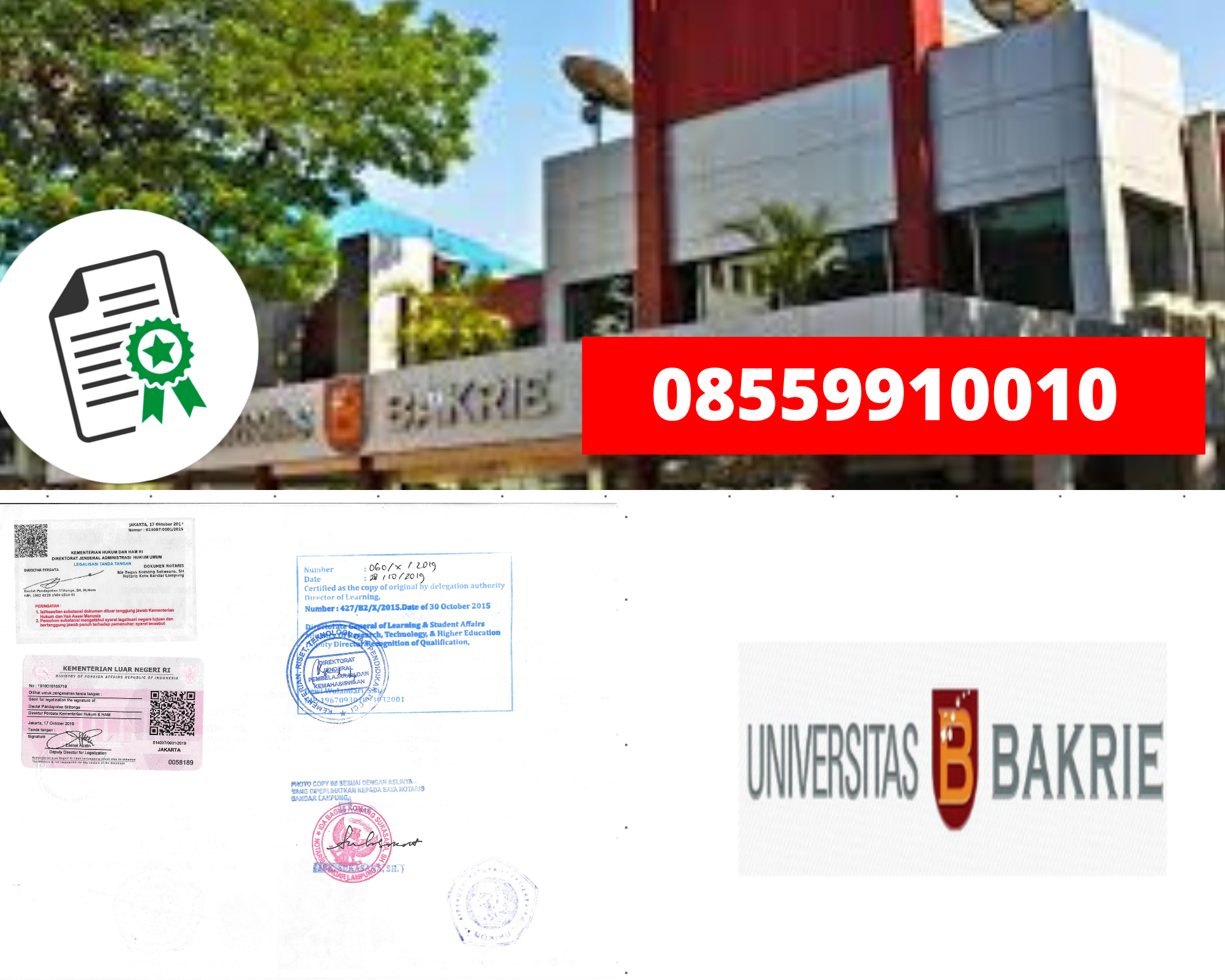 Legalisir Ijazah Universitas Bakrie Di Kemenristek Dikti || 08559910010