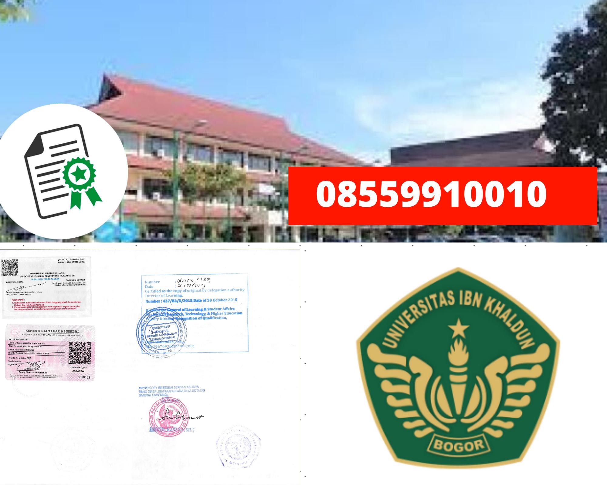 Legalisir Ijazah Universitas Ibn Khaldun Bogor Di Kemenristek Dikti || 08559910010