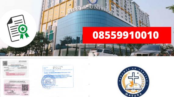 Jasa Legalisir Ijazah Universitas Matana Di Kemenristek Dikti    08559910010