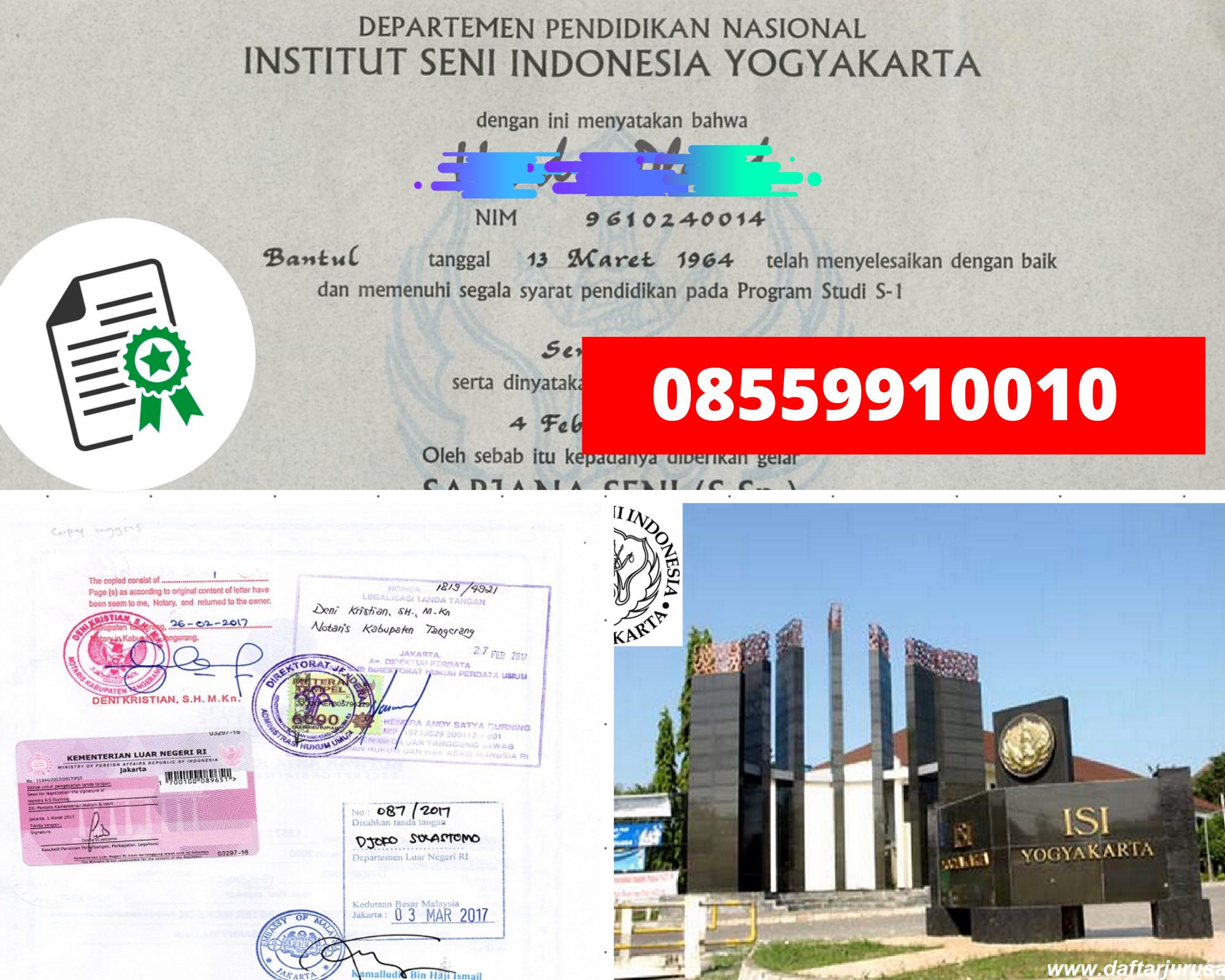 Legalisir Ijazah Insitut Seni Indonesia - Yogyakarta Di Kemenristek Dikti || 08559910010