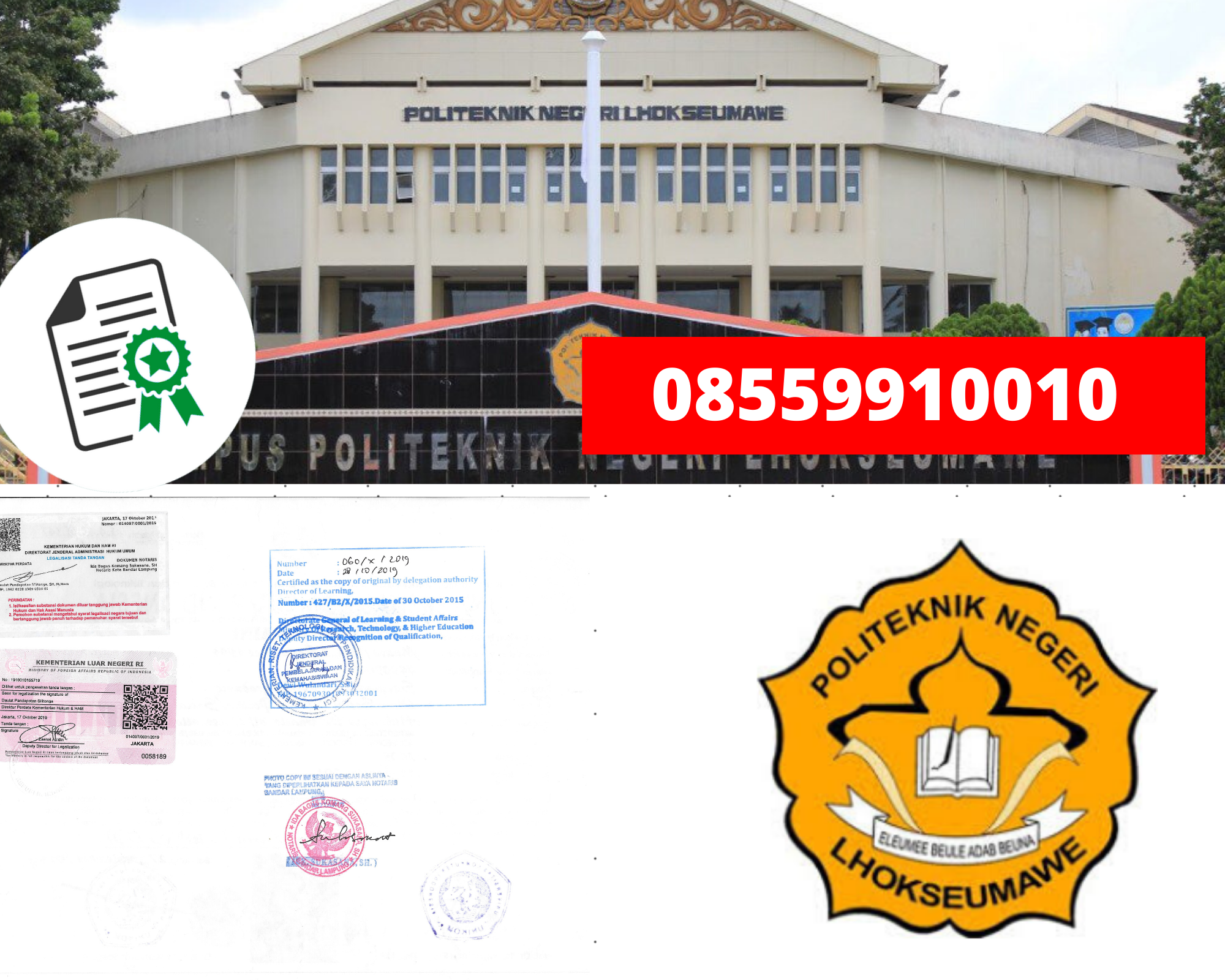 Jasa Legalisir Ijazah Politeknik Negeri Lhokseumawe Di Kemenristek Dikti ||  08559910010 - Jasa Legalisir.com