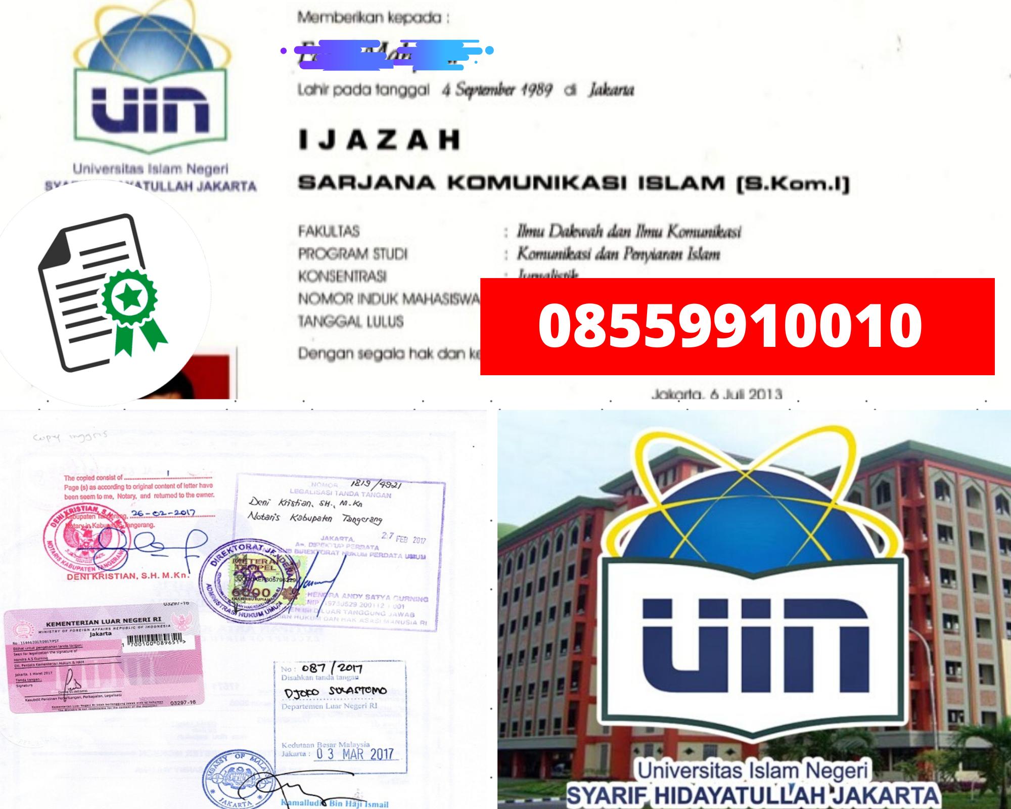 Legalisir Ijazah Universitas Islam Negeri Syarif Hidayatullah Di Kemenristek Dikti || 08559910010