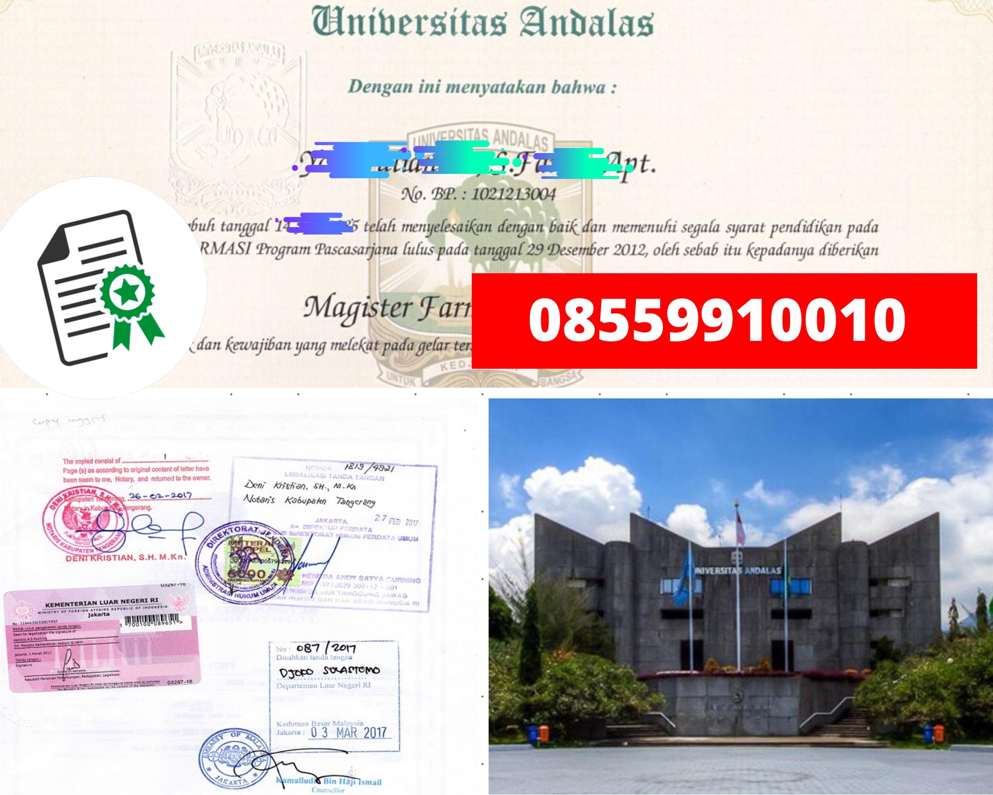 Legalisir Ijazah Universitas Andalas Di Kemenristek Dikti || 08559910010