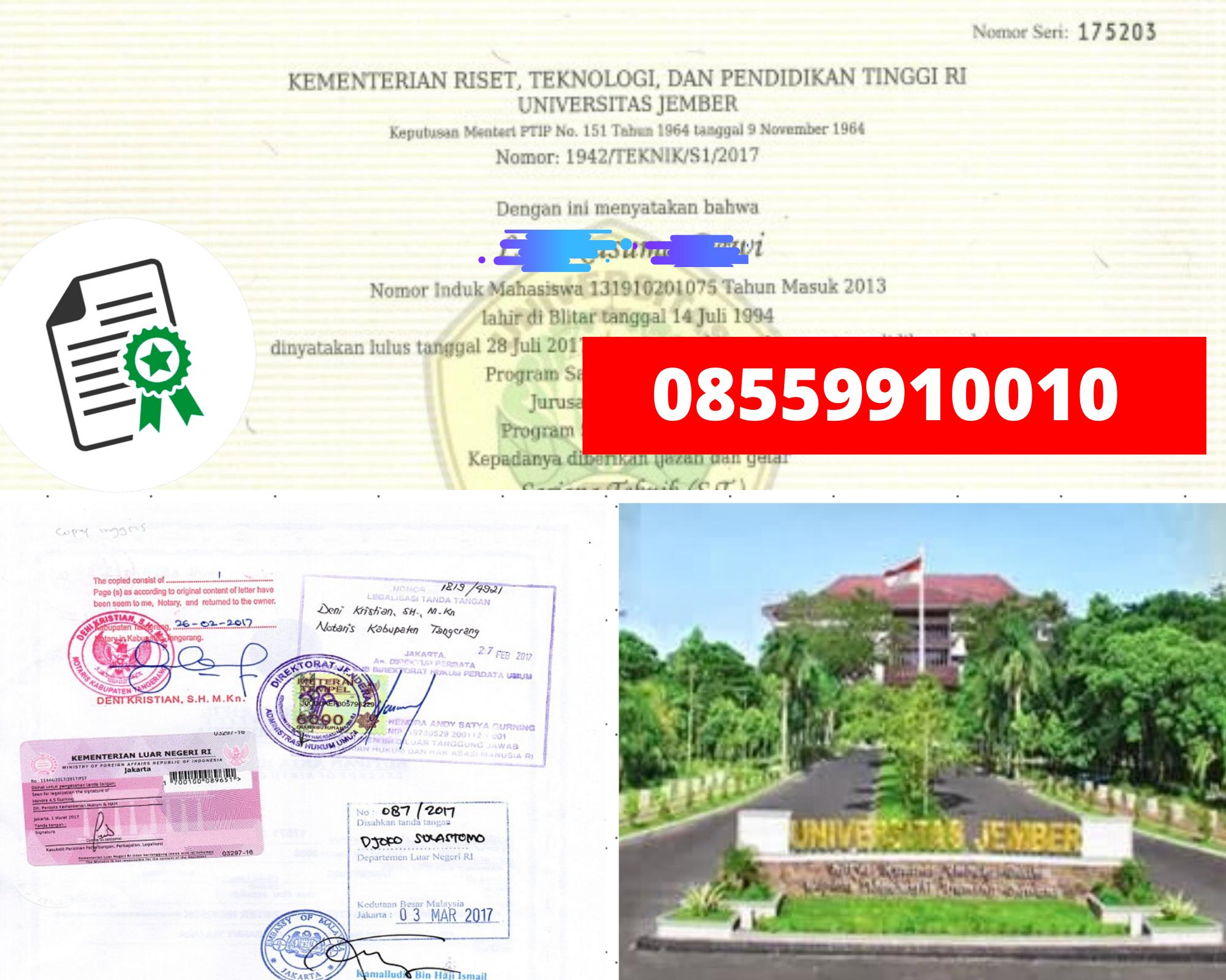Legalisir Ijazah Universitas Jember Di Kemenristek Dikti || 08559910010