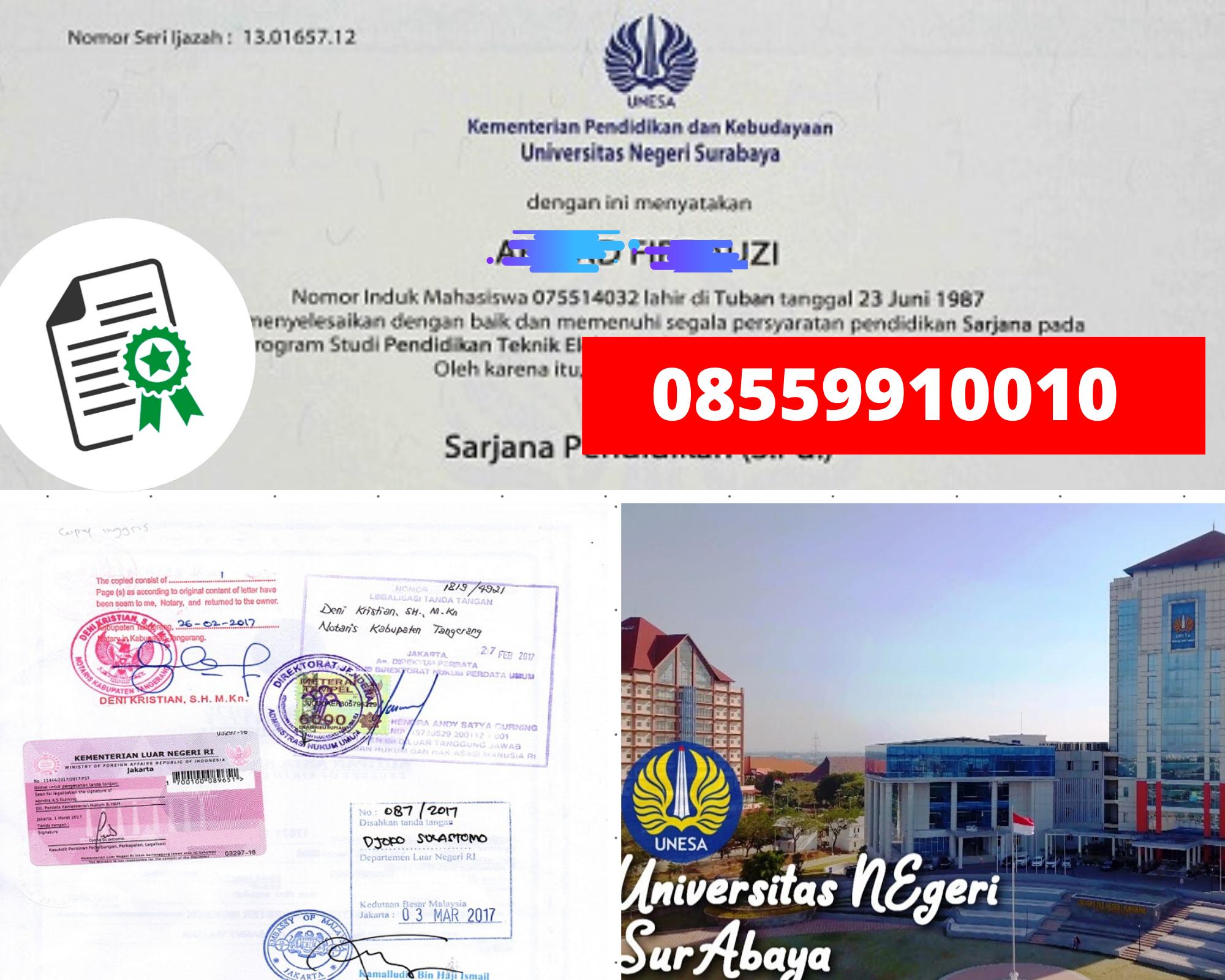 Legalisir Ijazah Universitas Negeri Surabaya  Di Kemenristek Dikti || 08559910010