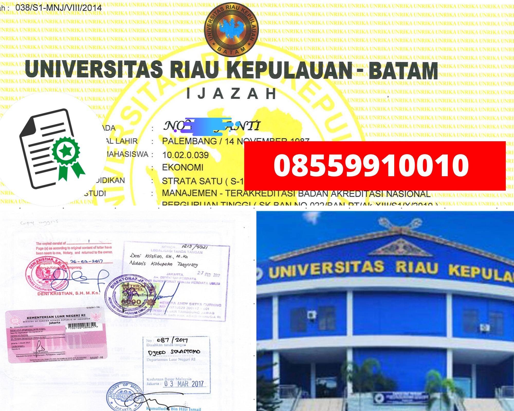 Legalisir Ijazah Universitas Riau Kepulauan-Batam Di Kemenristek Dikti || 08559910010