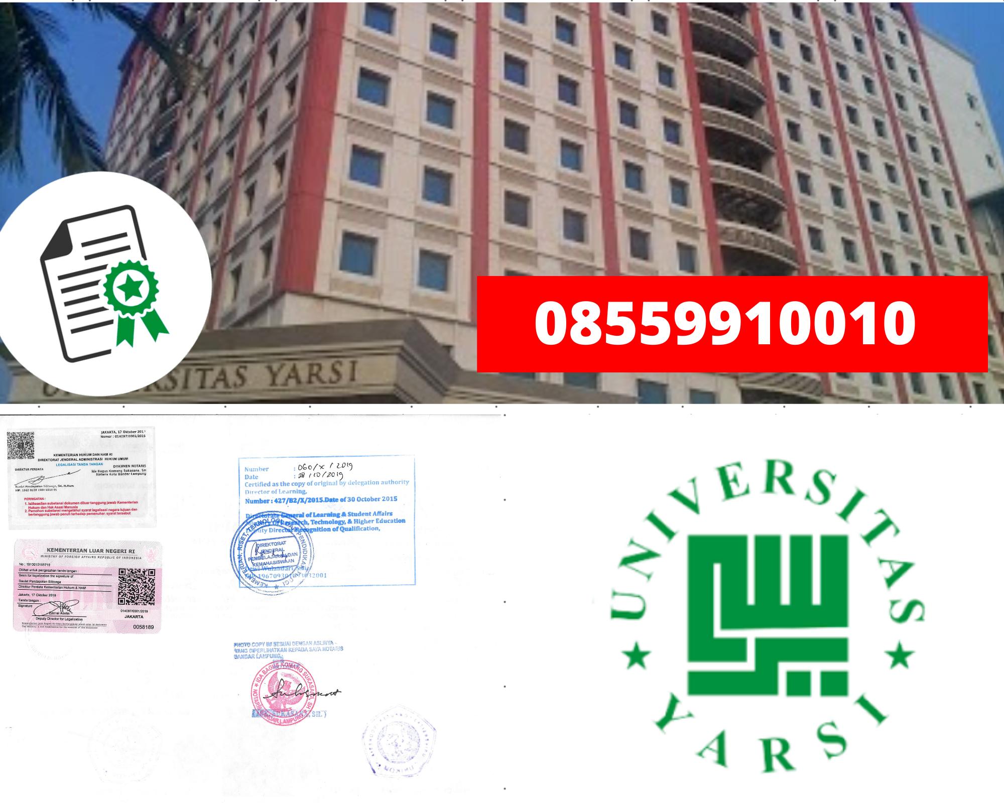 Legalisir Ijazah Universitas Yarsi Di Kemenristek Dikti || 08559910010