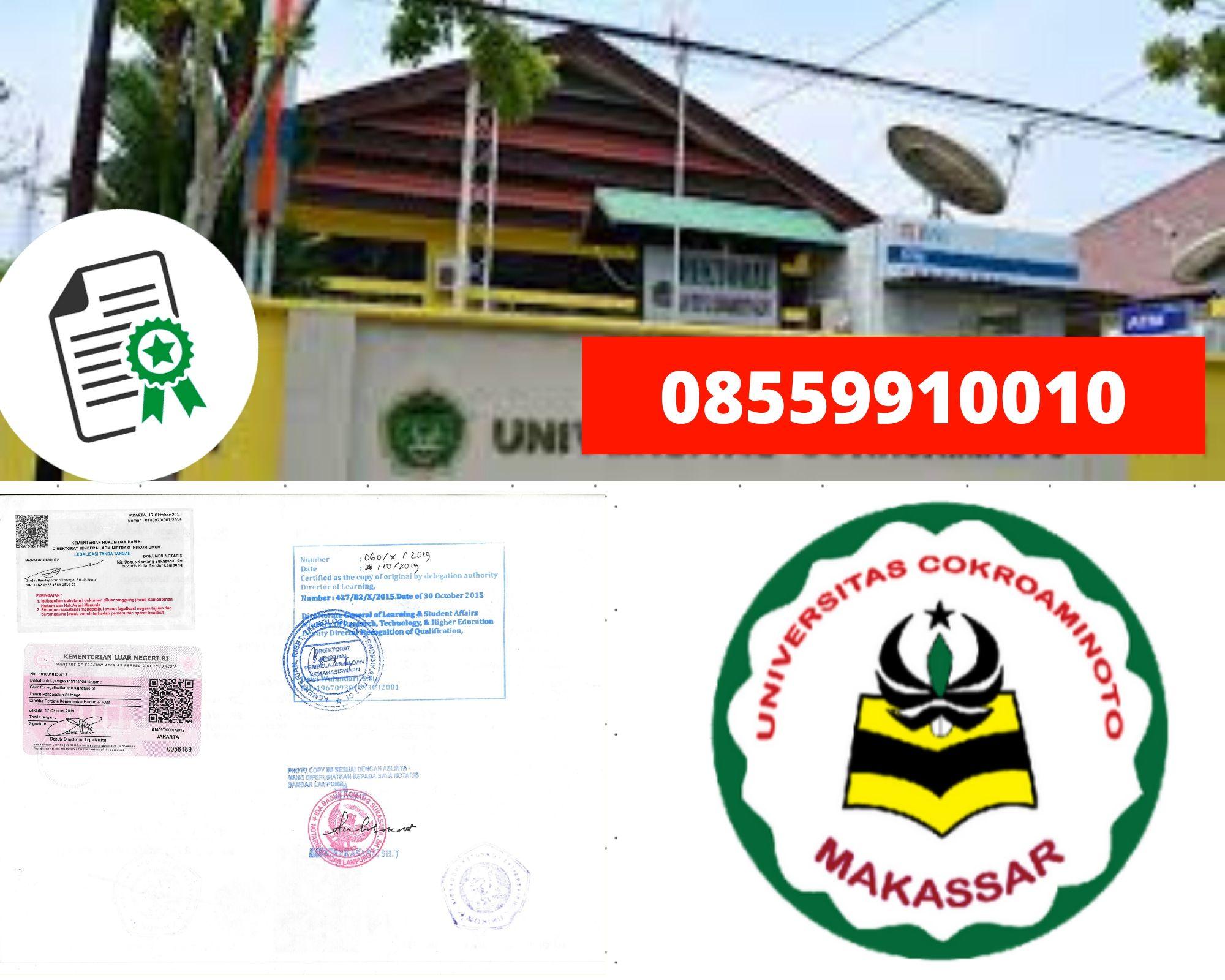 Legalisir Ijazah Universitas Cokroaminoto Makassar di kemenristek Dikti || 08559910010