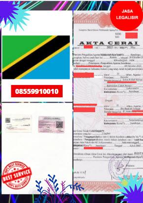 Jasa Legalisir Akta Cerai Di Kedutaan Tanzania || 08559910010