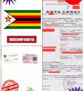 Jasa Legalisir Akta Cerai Di Kedutaan Zimbabwe || 08559910010