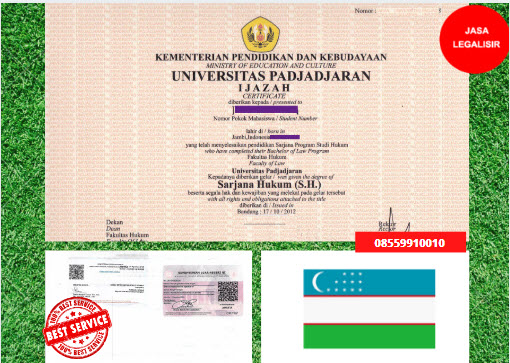 Jasa Legalisir Ijazah Universitas Di Kedutaan Uzbekistan || 08559910010