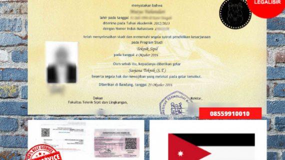 Jasa Legalisir Ijazah Universitas Di Kedutaan Yordania || 08559910010