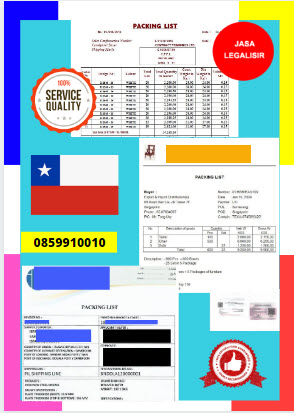 Jasa Legalisir Dokumen Perusahaan Packing List Di Kedutaan Chili    08559910010