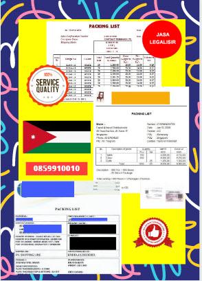 Jasa Legalisir Dokumen Perusahaan Packing List Di Kedutaan Yordania || 08559910010