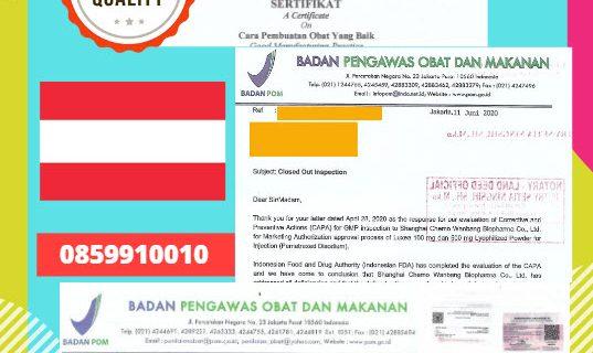 Jasa Legalisir Dokumen Perusahaan BPOM ( Badan Pengawasan Obat dan Makanan ) Di Kedutaan Austria || 08559910010