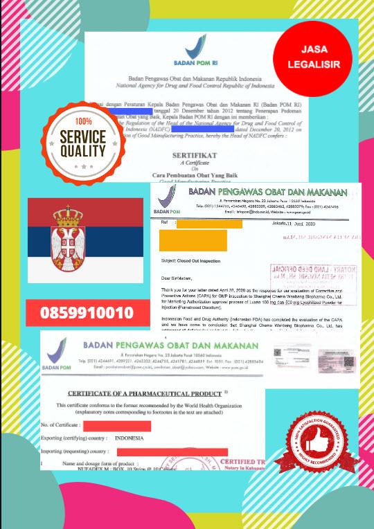 Jasa Legalisir Dokumen Perusahaan BPOM ( Badan Pengawasan Obat dan Makanan ) Di Kedutaan Serbia    08559910010
