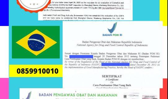 Jasa Legalisir Dokumen Perusahaan BPOM ( Badan Pengawasan Obat dan Makanan ) Di Kedutaan Brasil || 08559910010
