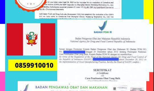 Jasa Legalisir Dokumen Perusahaan BPOM ( Badan Pengawasan Obat dan Makanan ) Di Kedutaan Peru || 08559910010