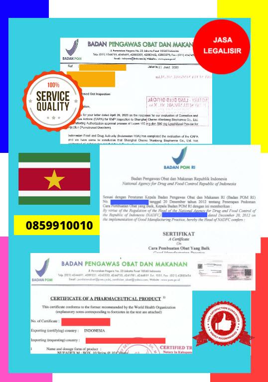 Jasa Legalisir Dokumen Perusahaan BPOM ( Badan Pengawasan Obat dan Makanan ) Di Kedutaan Suriname || 08559910010