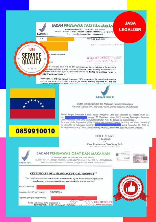 Jasa Legalisir Dokumen Perusahaan BPOM ( Badan Pengawasan Obat dan Makanan ) Di Kedutaan Venezuela || 08559910010