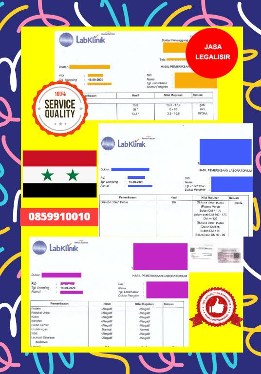 Jasa Legalisir Dokumen Medical Test Record Di Kedutaan Suriah || 08559910010