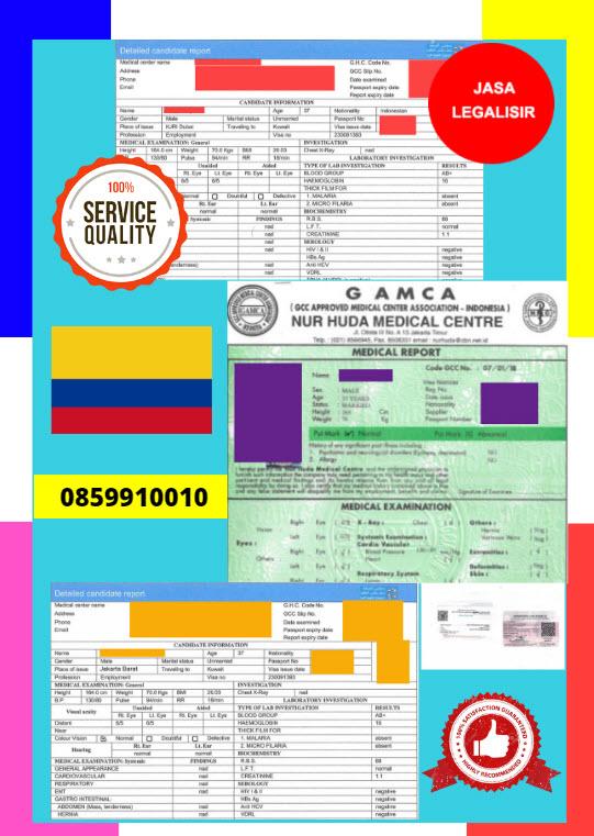 Jasa Legalisir Dokumen GAMCA Di Kedutaan Kolombia || 08559910010