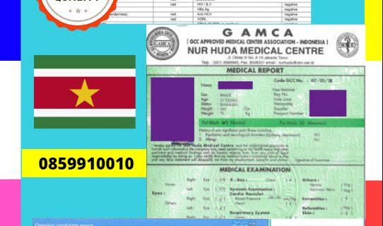 Jasa Legalisir Dokumen GAMCA Di Kedutaan Suriname || 08559910010