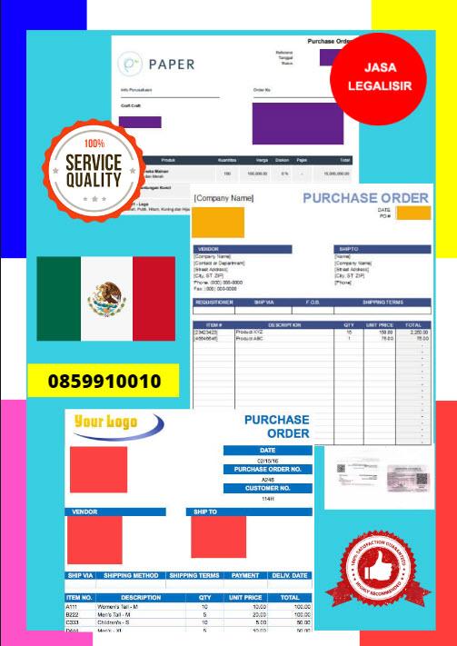 Jasa Legalisir Dokumen Perusahaan - Purchase Order (PO) Di Kedutaan Meksiko || 08559910010