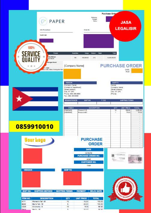 Jasa Legalisir Dokumen Perusahaan - Purchase Order (PO) Di Kedutaan Kuba || 08559910010