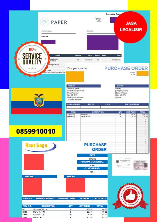 Jasa Legalisir Dokumen Perusahaan - Purchase Order (PO) Di Kedutaan Ekuador || 08559910010