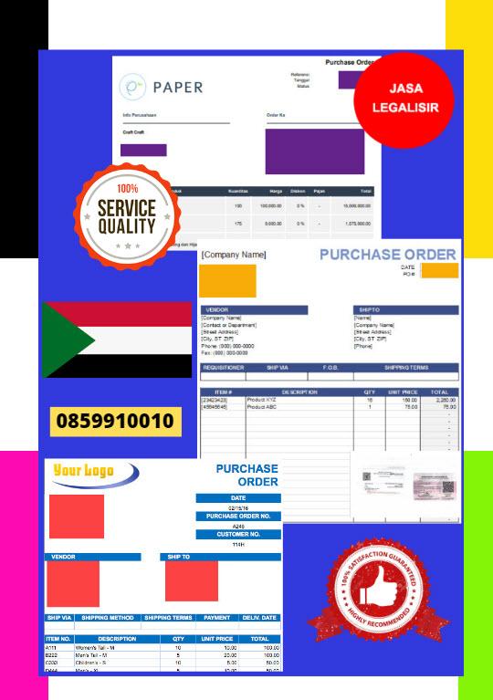 Jasa Legalisir Dokumen Perusahaan - Purchase Order (PO) Di Kedutaan Sudan || 08559910010