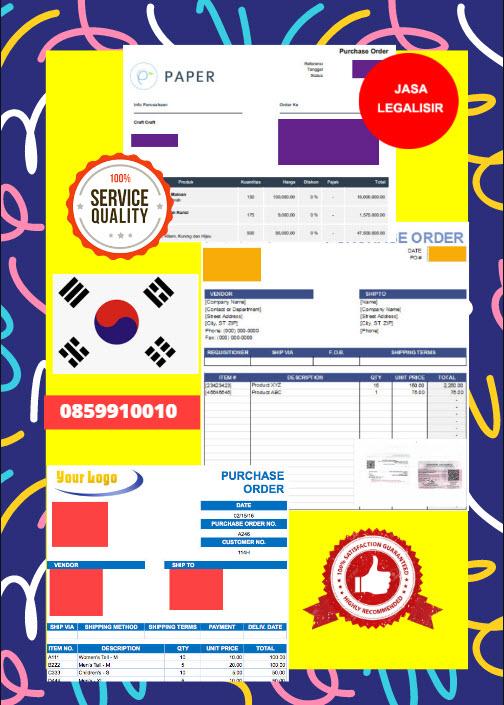 Jasa Legalisir Dokumen Perusahaan - Purchase Order (PO) Di Kedutaan Korea Selatan    08559910010