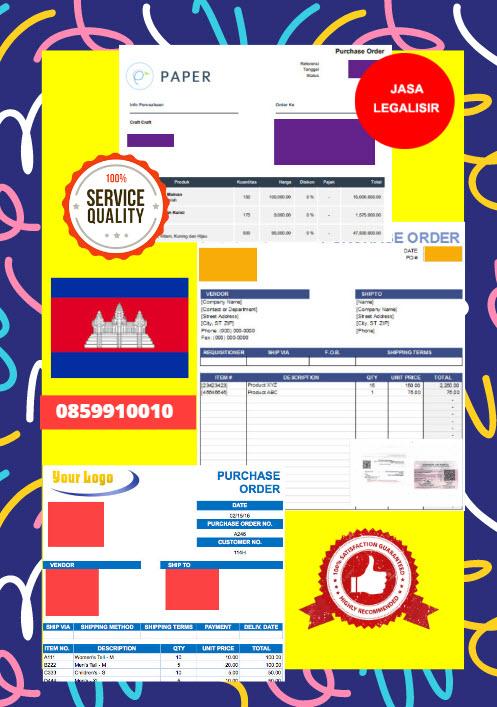 Jasa Legalisir Dokumen Perusahaan - Purchase Order (PO) Di Kedutaan Kamboja || 08559910010
