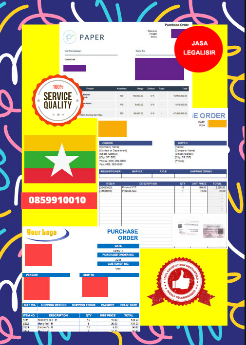 Jasa Legalisir Dokumen Perusahaan - Purchase Order (PO) Di Kedutaan Myanmar    08559910010