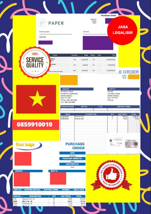 Jasa Legalisir Dokumen Perusahaan - Purchase Order (PO) Di Kedutaan Vietnam    08559910010