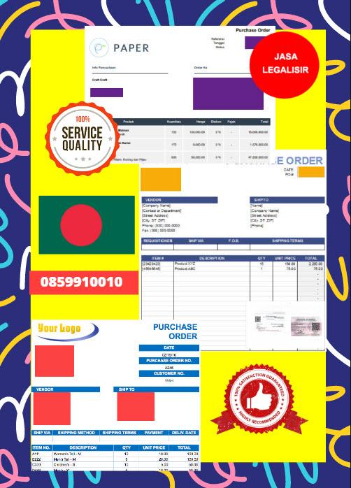 Jasa Legalisir Dokumen Perusahaan - Purchase Order (PO) Di Kedutaan Bangladesh || 08559910010