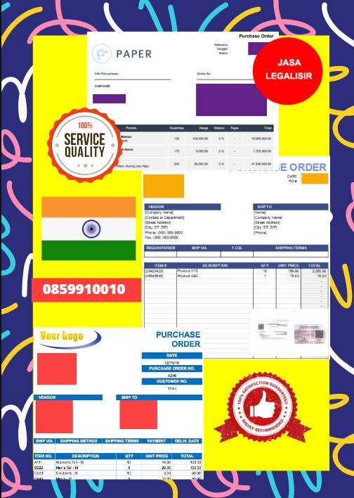 Jasa Legalisir Dokumen Perusahaan - Purchase Order (PO) Di Kedutaan India || 08559910010