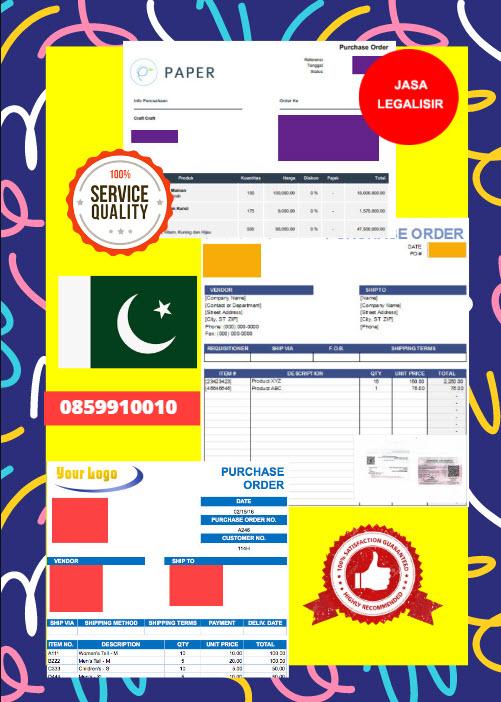 Jasa Legalisir Dokumen Perusahaan - Purchase Order (PO) Di Kedutaan Pakistan    08559910010