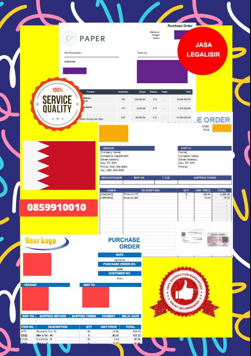 Jasa Legalisir Dokumen Perusahaan - Purchase Order (PO) Di Kedutaan Bahrain || 08559910010