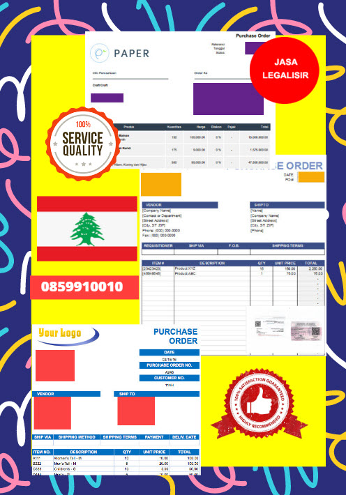 Jasa Legalisir Dokumen Perusahaan - Purchase Order (PO) Di Kedutaan Lebanon || 08559910010