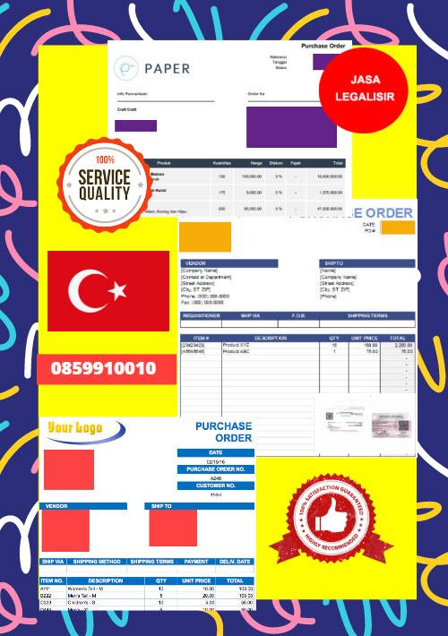 Jasa Legalisir Dokumen Perusahaan - Purchase Order (PO) Di Kedutaan Turki || 08559910010