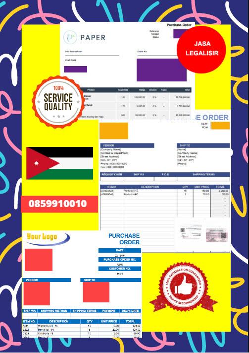 Jasa Legalisir Dokumen Perusahaan - Purchase Order (PO) Di Kedutaan Yordania    08559910010