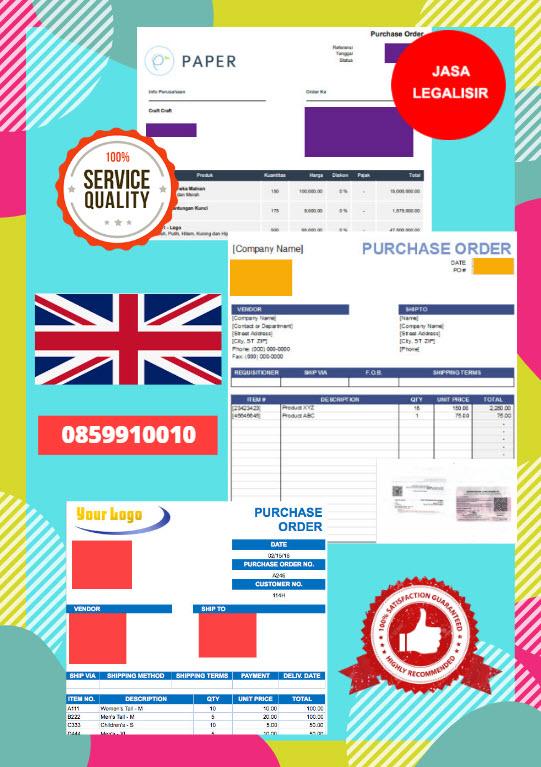 Jasa Legalisir Dokumen Perusahaan - Purchase Order (PO) Di Kedutaan Britania Raya || 08559910010