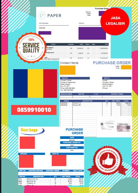 Jasa Legalisir Dokumen Perusahaan - Purchase Order (PO) Di Kedutaan Rumania || 08559910010