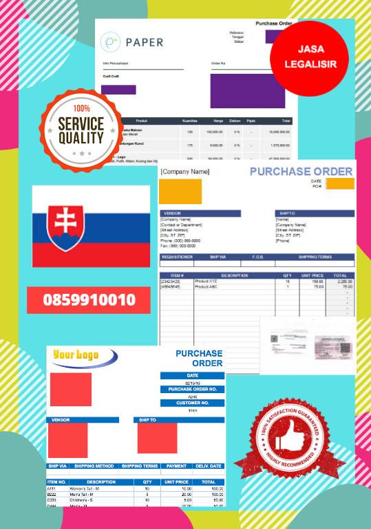 Jasa Legalisir Dokumen Perusahaan - Purchase Order (PO) Di Kedutaan Slowakia || 08559910010